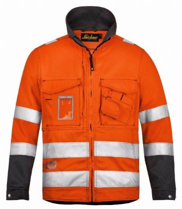 Snickers 1633 High-Vis Jacket, Class 3 (High Vis Orange / Muted Black)